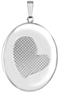 L9040 grid heart 25 oval locket