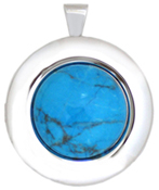 30mm round locket with turquoise