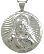 large sterling sacred heart locket
