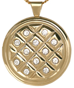 L2015 gold 30 round locket with stones