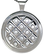 sterling 30mm round locket with stones