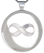 30mm round locket with infinity symbol