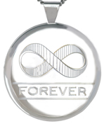 L2019 large round locket with infinity symbol