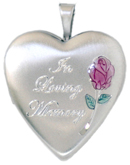 L5057CR Loving Memory cremation heart locket