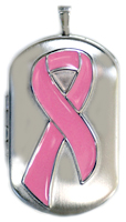 pink ribbon dog tag locket