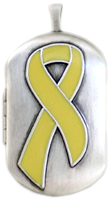 L1206 yellow ribbon dog tag locket