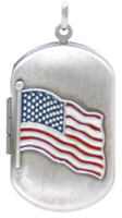 L1208 embossed american flag dog tag locket