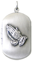embossed praying hands dog tag locket