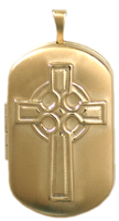 L1216 embossed celtic cross dog tag locket