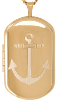L1228 Anchor dog tag locket