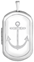 sterling dog tag locket with anchor