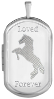 L1236 horse cremation dog tag locket