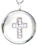 22mm round locket with cross