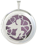 L1083 Cherub round locket