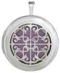 L1085 scroll overlay round locket
