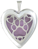 L5219 paw overlay heart locket