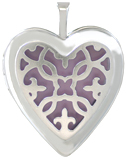 L5221 fleur scroll overlay heart locket