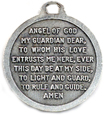 angel prayer on back of medal