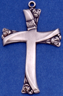 C356 sterling cross with roses