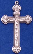 C391 sterling large cross with leaves