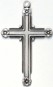 C333 sterling medium cross with flowers