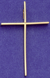 C205w gold large plain wire cross